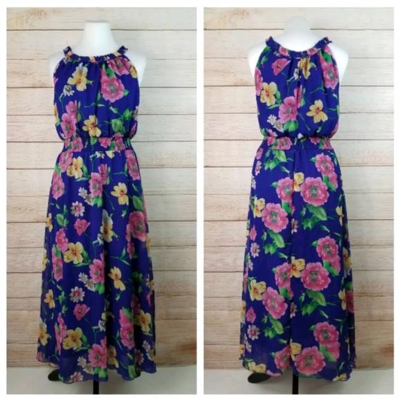 Vintage M Blue Floral Sleeveless Halter Maxi Dress